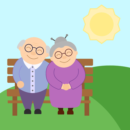 Cute elderly couple sitting on the bench in sunny day