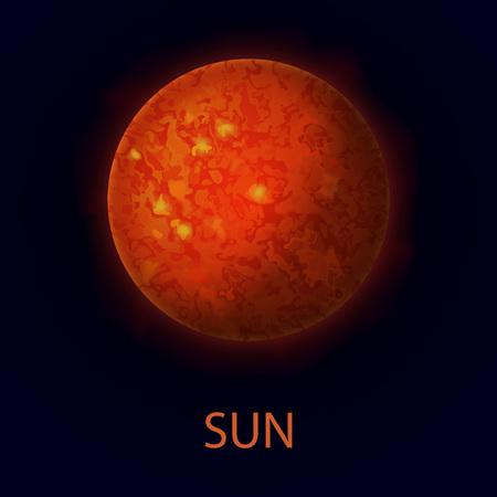 Zon. Realistische rode grote ster. Warmtebron. Vectorillustratie op donkere achtergrond. Stock Illustratie