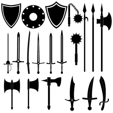 Große Sammlung von mittelalterlichen Waffen. Antike Schwerter, Äxte, Speere. Schwarze Arme auf weißem Hintergrund. Vektordesign. Standard-Bild - 85111134