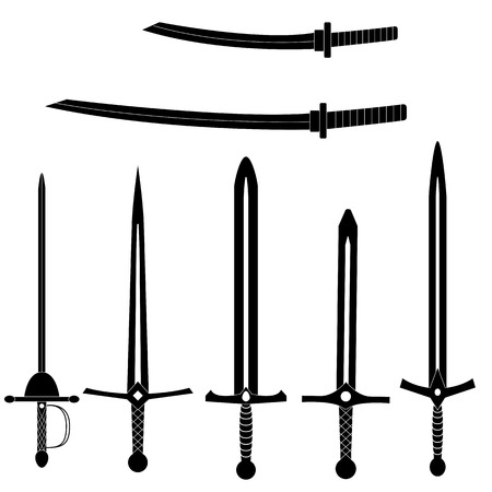 Set alte Schwerter. Schwarze mittelalterliche Klingen des Vektors auf weißem Hintergrund. Standard-Bild - 85265593