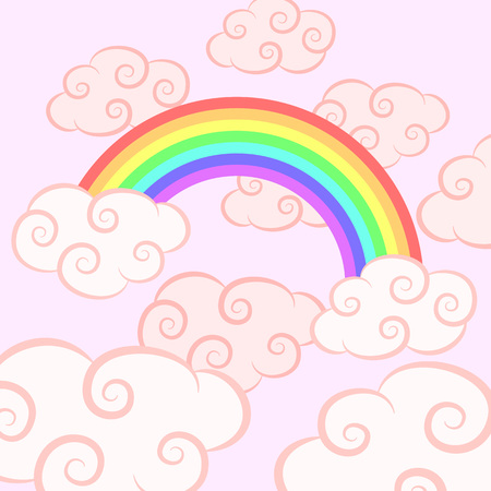 Rainbow in the pink cloud. Beautiful magic background for girls.