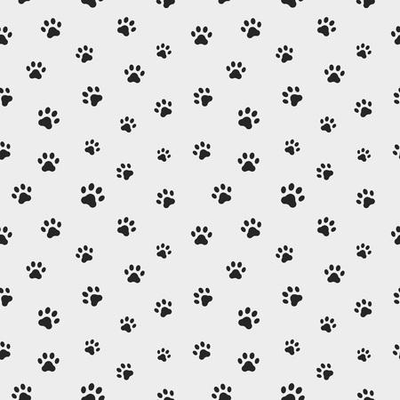 Cat paw track. Seamless animal pattern of paw footprint. Vector illustration Stock Illustratie