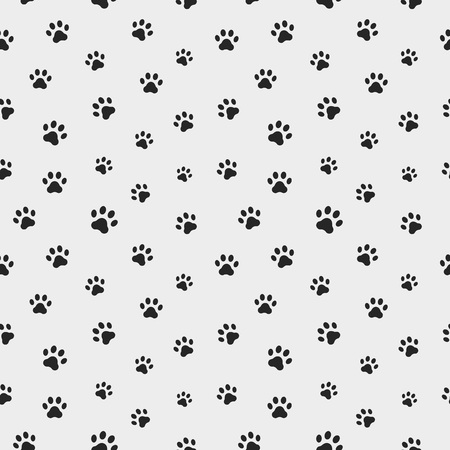 Cat paw track. Seamless animal pattern of paw footprint. Vector illustration Vettoriali