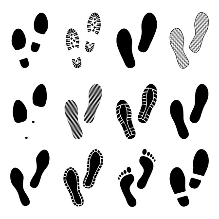 Footsteps. Footprints. Shoe and bare foot print. Shoes imprints set. Vector illustration Ilustracja