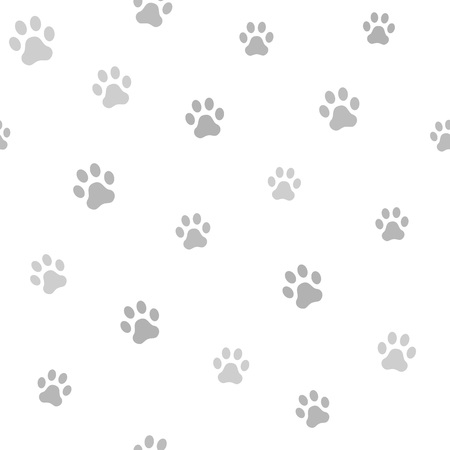 silueta de gato: Dog paw track. Seamless animal pattern of paw footprint. Vector illustration.