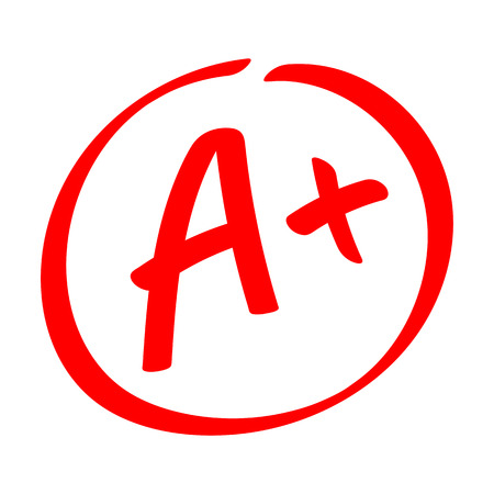 Grade result - A . Hand drawn vector grade with plus in circle. Flat illustration Çizim