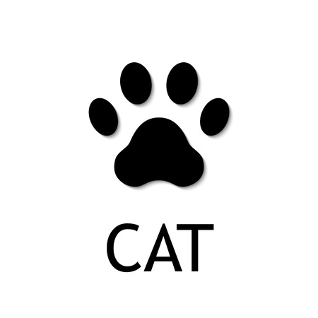 silueta de gato: Cat paw print. Footprint. Black vector icon