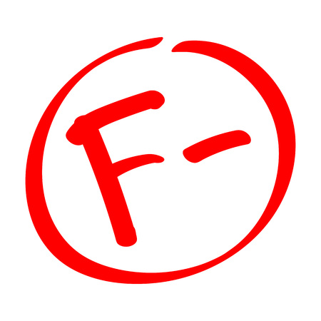 Zawieść. Wynik oceny F-. Ręcznie rysowane klasy wektorowej z minusem w kółko. Płaska ilustracja