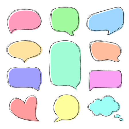 Doodle colorful speech bubbles