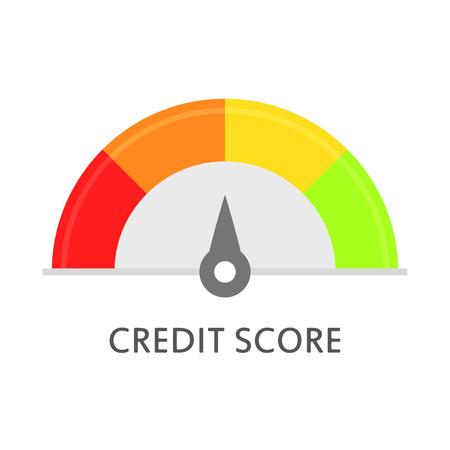 Kredit-Score-Messgerät. Bewertung. Kredit-Score-Meter. Vector Ikone in der flachen Art, die auf weißem Hintergrund lokalisiert wird. Standard-Bild - 87962454