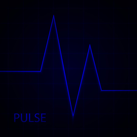 Heart pulse. Electrocardiogram. Heartbeat. Blue vector medical background with heart cardiogram.