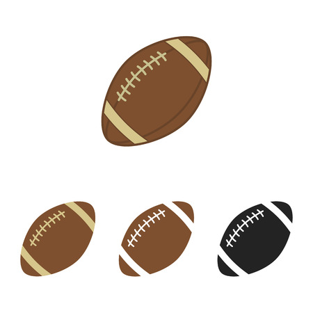 American football set. Ball for american football. Vector silhouettes of a rugby balls. Vector icons isolated on white background. Vector collection in flat style. Vettoriali