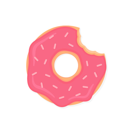 Bitten donut with pink icing and sprinkles. Cartoon doughnut isolated on white background. Vector donut icon in flat style