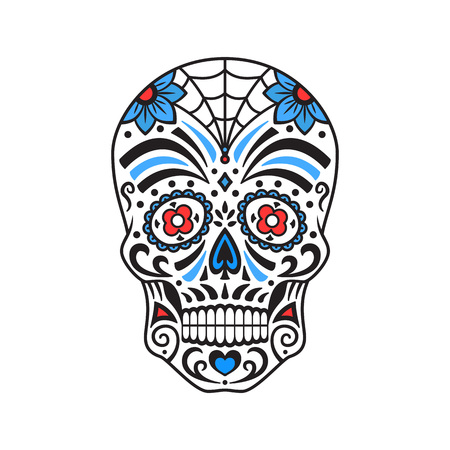 Sugar skull. Colorful tattoo. Mexican Day of the Dead. Vector illustration for coloring book. Illustration