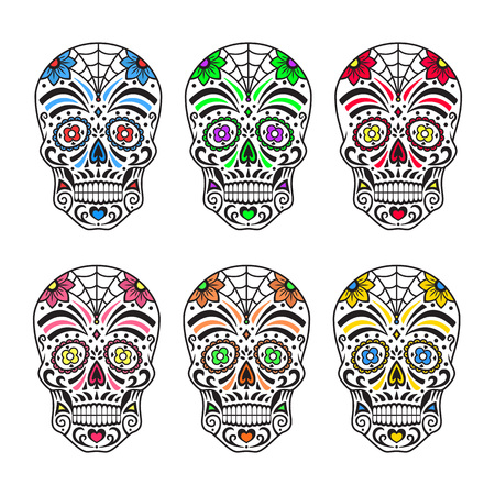 Sugar skulls set. Colorful tattoos. Mexican Day of the Dead. Vector illustration.