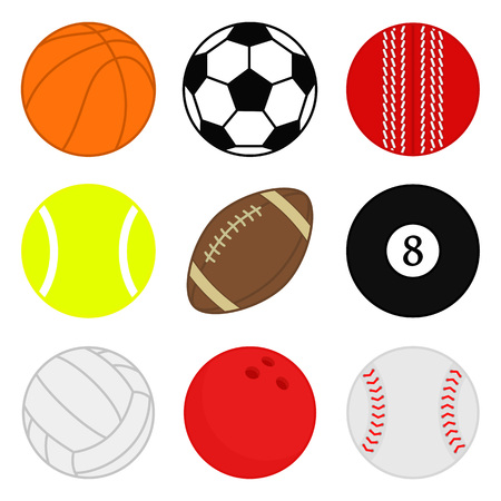 Sports balls vector set. Cartoon ball icons. Collection of colorful balls. Vector illustration. Flat style.