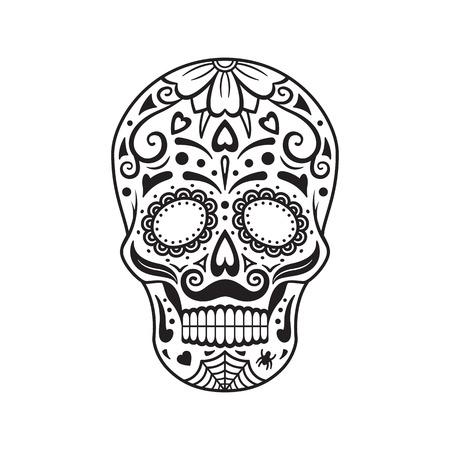 Set De Calaveras De Azúcar. Tatuajes Coloridos Día Mexicano De Los ...