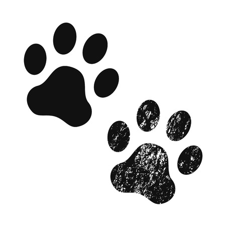Dog paw print usual and with texture . Footprint. Black vector icon