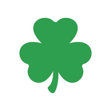 Three leaf clover. Vector icon. St Patricks day. Clover silhouette isolated on white background.