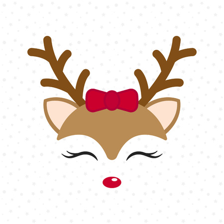 Cute reindeer. Baby deer. Merry Christmas cartoon character. Girl with red bow. Vector illustration Illustration
