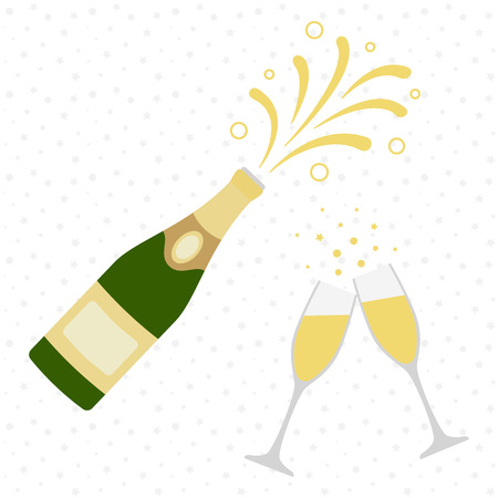 Two champagne glasses with champagne bottle explosion. Cheers. Celebration. Holiday toast. Vector illustration Illustration
