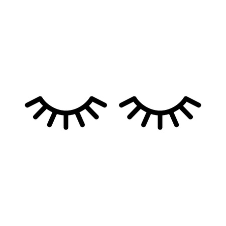 Vector eyelashes. Closed eyes. Vector icon Cute design Banco de Imagens - 91244278