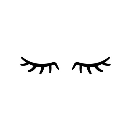 Vector eyelashes. Closed eyes. Vector icon Cute design