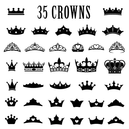 Crown icons. Princess crown. King crowns. Icon set. Antique crowns. Vector illustration. Flat style Silhouette 일러스트