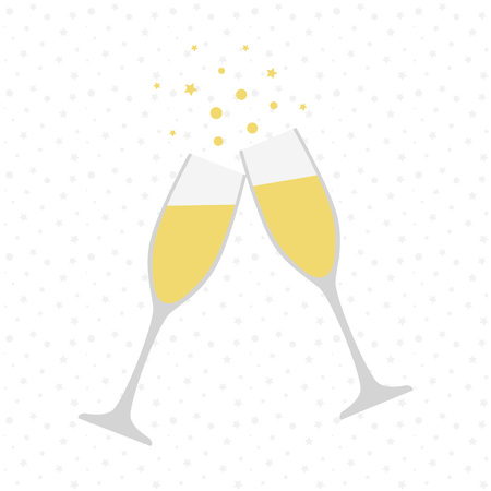 Two champagne glasses. Cheers. Celebration. Holiday toast Vector illustration Çizim