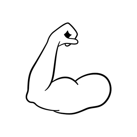 Muscle icon. Strong power. Muscle arm vector icon. Biceps. Strong bodybuilder. Fitness icon
