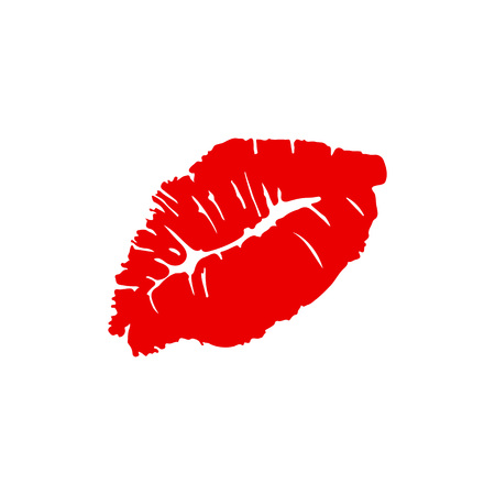 Lips kiss. Red female lips. Valentines day. Vector illustration
