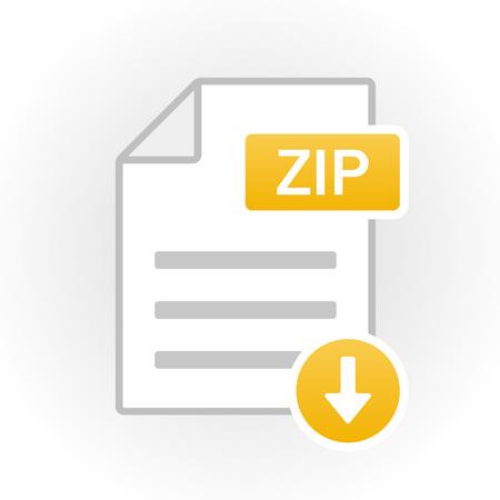 ZIP icon isolated. File format. Vector illustration Vettoriali