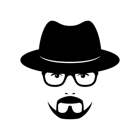Man face with glasses, beard and hat. Photo props. Vector illustration