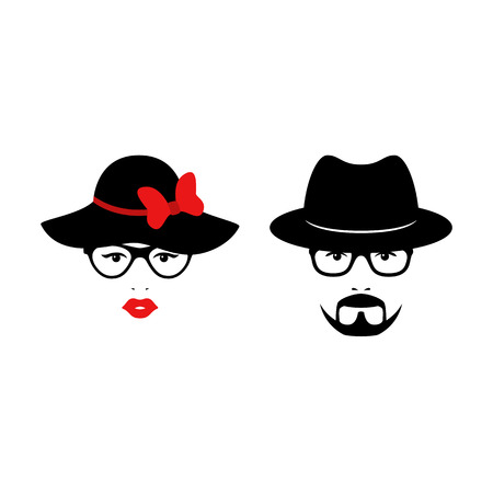 Retro couple with glasses anh hats. Woman and man faces. Wedding concept. Vector illustration