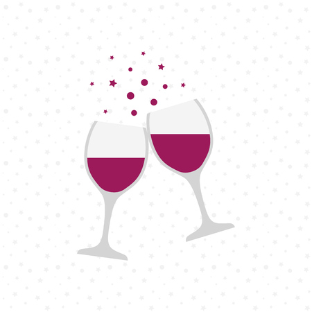 Two wine glasses. Holiday toast Vector illustration