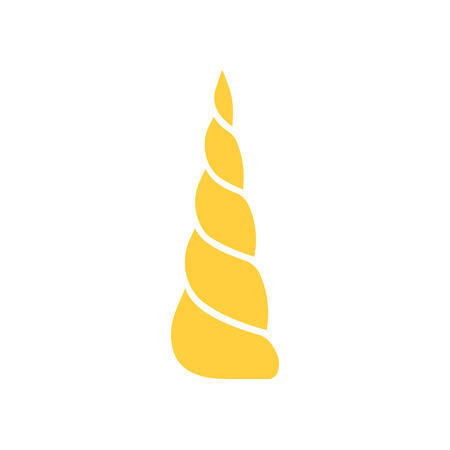 Cartoon yellow horn of a unicorn isolated on white background. Vector illustration.