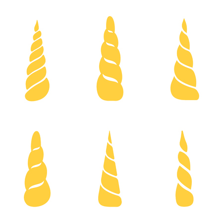Collection of unicorn horns isolated on white background. Vector illustration