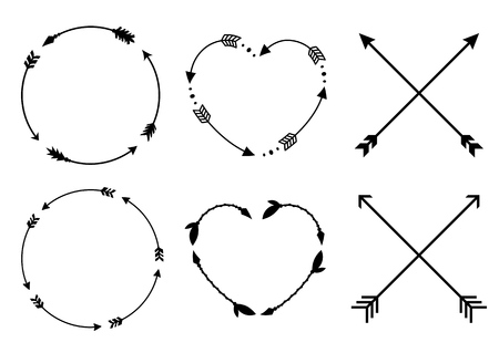Marcos de flecha de círculo y corazón para monogramas. Flechas cruzadas hipster. Flechas en estilo boho. Conjunto de flechas tribales. Colección de vectores