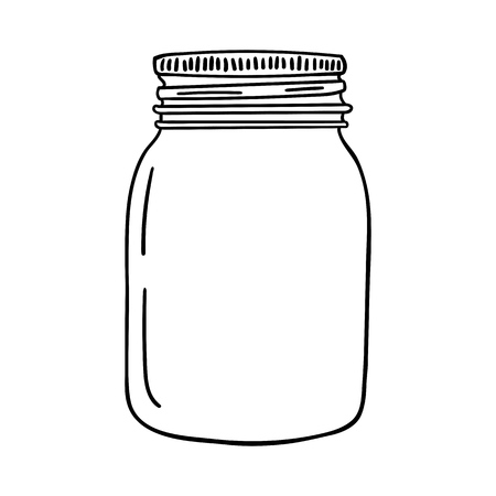 Hand drawn mason jar. Contour sketch vector illustration. Çizim