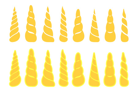Collection of unicorn horns isolated on white background Vector illustration