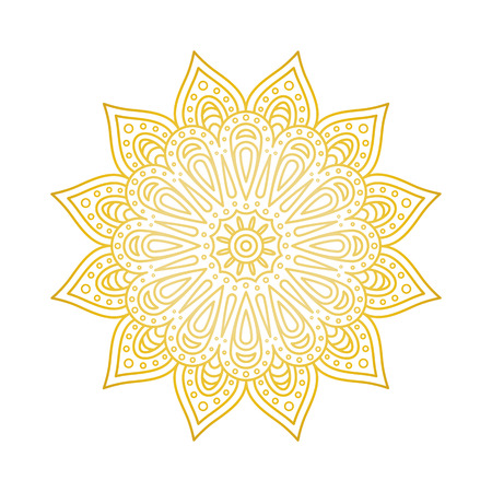 Mandala pattern. Gold floral mandala. Decorative round ornament. Islam, arabic, indian, moroccan, ottoman motifs. Coloring book page Vector illustration