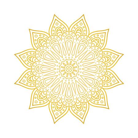 Mandala pattern. Gold floral mandala. Decorative round ornament. Islam, arabic, indian, moroccan, ottoman motifs. Coloring book page Vector illustration
