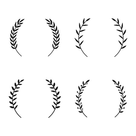 Collection of different laurel wreaths. Illustration