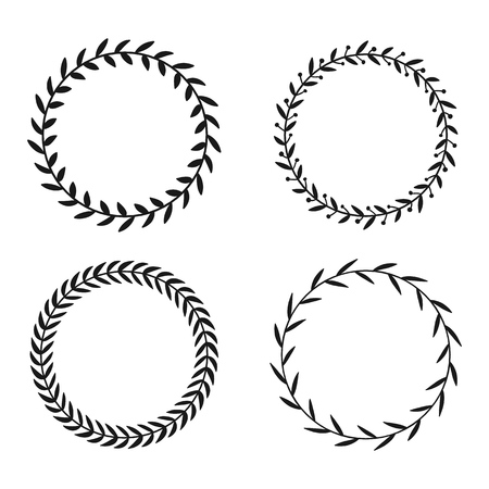 Collection of different laurel wreaths. Hand drawn vector round frames for invitations.