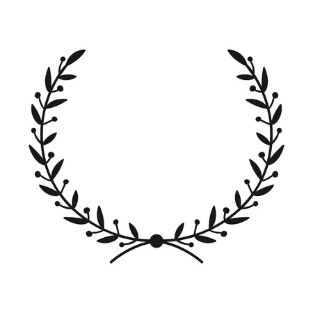 Laurel wreath. Hand drawn vector round frame for invitations, greeting cards, quotes, logos, posters and more. Vector illustration  イラスト・ベクター素材