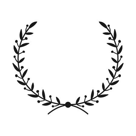 Corona de laurel. Marco redondo de vector dibujado a mano para invitaciones, tarjetas de felicitación, citas, logotipos, carteles y más. Ilustración vectorial