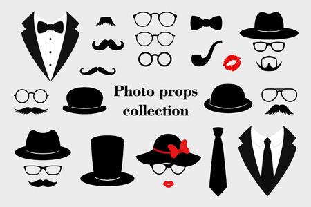 Kolekcje rekwizytów fotograficznych. Zestaw retro party z okularami, wąsami, brodą, czapkami, texedo i ustami. Ilustracji wektorowych