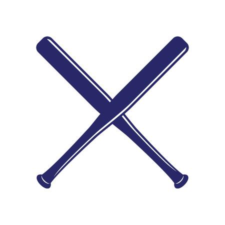 Baseball crossed bats. Criss cross bats. Baseball flat vector illustration