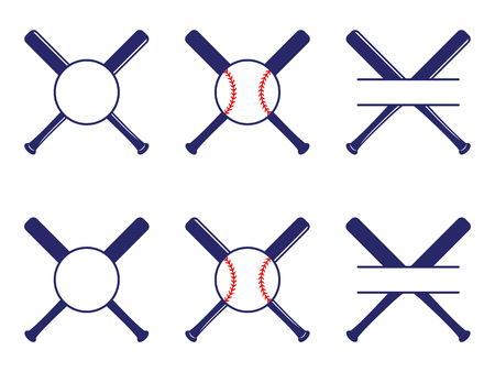 Vector set with baseball logos, split and circle monograms. Baseball crossed bats. Criss cross bats. Baseball flat vector illustration  イラスト・ベクター素材