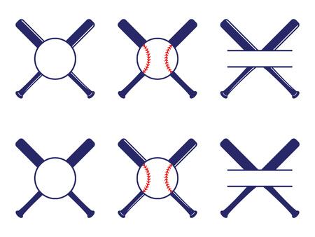Vector con logos de béisbol, split y monogramas de círculo. El béisbol cruzó bates. Criss cross murciélagos. Ilustración de vector plano de béisbol
